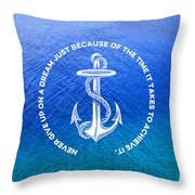 Turquoise Blue Tropical Sea With Vintage White Anchor Throw Pillow