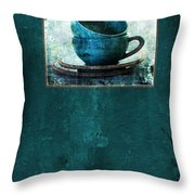 Turquoise Cups Throw Pillow