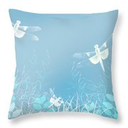 Turquoise Dragonfly Art Throw Pillow