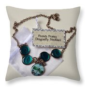 Turquoise French Francs Dragonfly Necklace Throw Pillow