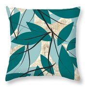 Turquoise Leaves Throw Pillow