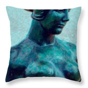 Turquoise Maiden - Digital Art Throw Pillow