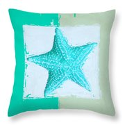 Turquoise Seashells Xi Throw Pillow by Lourry Legarde