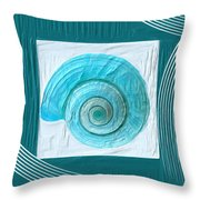 Turquoise Seashells Xvii Throw Pillow