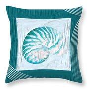 Turquoise Seashells Xxi Throw Pillow by Lourry Legarde