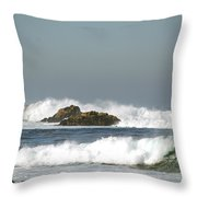 Turquoise Waves Monterey Bay Coastline Throw Pillow