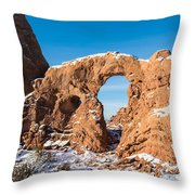 Turret Arch In Winter Throw Pillow
