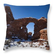 Turret Arch With Snow Arches National Park Utah Throw Pillow