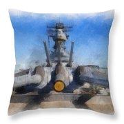 Turrets 1 And 2 Uss Iowa Battleship Photo Art 01 Throw Pillow