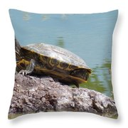 Turtle At The Lake Throw Pillow