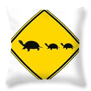 Turtle Crossing Sign Throw Pillow
