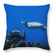 Turtle Flying Underwater Throw Pillow
