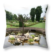 Turtle Fountian And Garden Chateau De Cormatin Throw Pillow