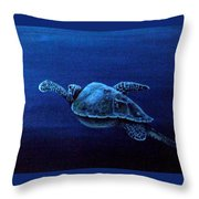 Turtle In The Red Sea Throw Pillow