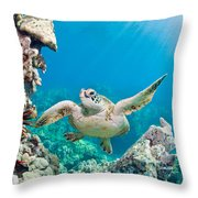 Turtle In Tropical Ocean Throw Pillow