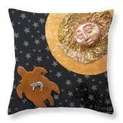 Turtle Moon Throw Pillow