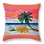 Turtle On Beach Throw Pillow