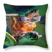 Turtle Reflection Throw Pillow