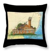 Turtle Rock Lighthouse Pa Chart Map Art  Throw Pillow