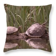 Turtle Struggling To Rest On A Log With Its Buddy Throw Pillow