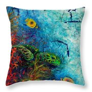 Turtle Wall 1 Throw Pillow by Ashley Kujan