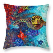 Turtle Wall 2 Throw Pillow by Ashley Kujan