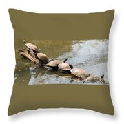 Turtles On A Log Throw Pillow
