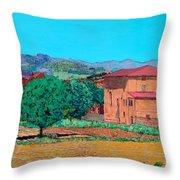 Tuscan Farm Village Throw Pillow
