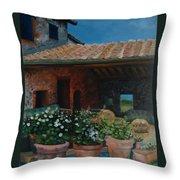 Tuscan Flower Pots Throw Pillow