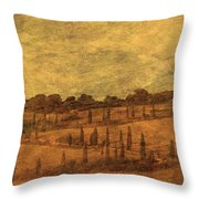 Landscape And Winding Road With Cypress Trees Throw Pillow