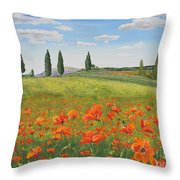 Tuscan Poppies-b Throw Pillow