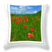 Tuscan Poppies Poster Throw Pillow