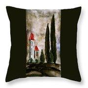 Tuscan Village Landscape Fine Art Print Throw Pillow