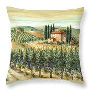 Tuscan Vineyard And Villa Throw Pillow