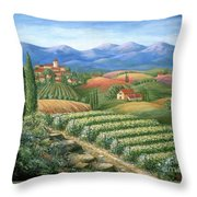 Tuscan Vineyard And Village  Throw Pillow