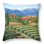 Tuscan Vineyard And Village  Throw Pillow by Marilyn Dunlap