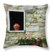 Tuscan Window And Flower Pot Throw Pillow