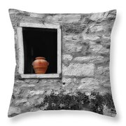 Tuscan Window And Pot Bw And Color Throw Pillow