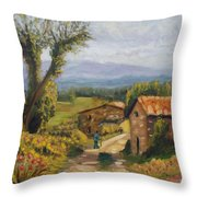 Tuscany Farm Road Throw Pillow