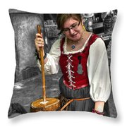 Tutor Milkmaid Churning Butter  V2 Throw Pillow
