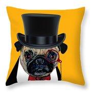 Tux Pug Throw Pillow