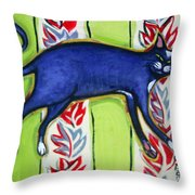 Tuxedo Cat On A Cushion Throw Pillow