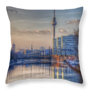 Tv Tower Sunset Throw Pillow