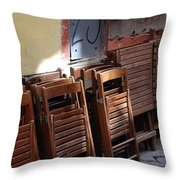 Twenty-five Folded Chairs Throw Pillow