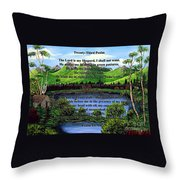 Twenty-third Psalm And Twin Ponds Throw Pillow