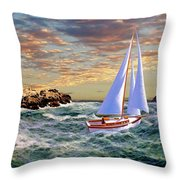 Twilight At Portland Throw Pillow
