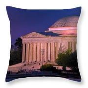 Twilight At The Jefferson Memorial Throw Pillow