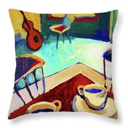 Twilight Coffee Cafe Throw Pillow