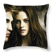 Twilight  Kristen Stewart And Robert Pattinson Artwork 1 Throw Pillow