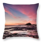 Twilight On Harkness Rocks Bamburgh Throw Pillow